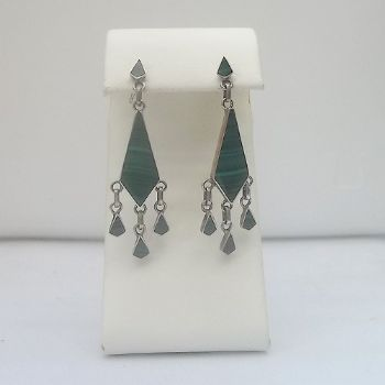 Chilean dangle post earrings with Malachite